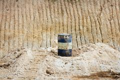 Barrel on the sand mines Royalty Free Stock Photos