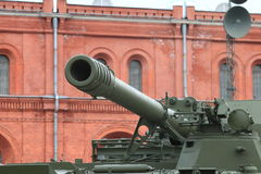 Barrel of self-propelled gun close-up stock images