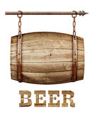 Barrel shaped wooden signboard. On rusty chains Stock Photo