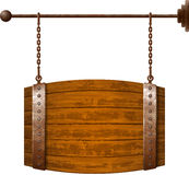 Barrel shaped wooden signboard Royalty Free Stock Photography