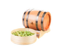 Barrel and sieve with hop. Royalty Free Stock Image