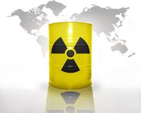 Barrel with sign of radiation on the world map background. Yellow barrel with sign of radiation on the world map background Stock Images