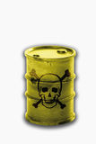 Barrel with signs of skull and crossbones on white background Royalty Free Stock Photo