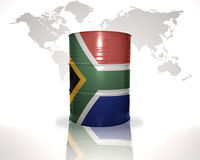 Barrel with south africa flag on the world map royalty free illustration