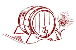Barrel spikes. Graphic illustration - a wooden barrel with spikes royalty free illustration