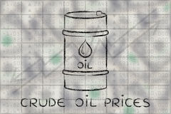 Barrel on stock exchange background, with text Crude oil prices Stock Images