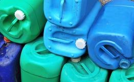 Barrel storage. Closeup of used wash detergent barrels Stock Photography