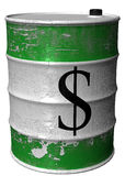 Barrel with a symbol of dollar. A steel barrel of toxic waste Royalty Free Stock Photo