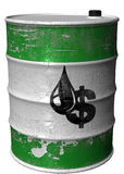 Barrel with a symbol of dollar and oil rotated. A steel barrel with a symbol of dollar=oil Royalty Free Stock Images