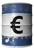 Barrel with a symbol of euro. A steel barrel with a symbol of euro Royalty Free Stock Image