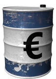 Barrel with a symbol of euro rotated. A steel barrel with a symbol of euro Royalty Free Stock Photo