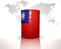 Barrel with taiwan flag on the world map stock illustration