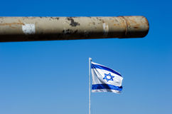 Barrel of tank and Israelien flag Royalty Free Stock Photo
