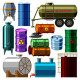 Barrel tanks vector set. Stack different oil drums container liquid cask storage object. Rows of steel barrels capacity tanks. Natural wooden barrel capacity royalty free illustration