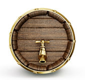 Barrel  tap. Old wooden barrel  with  tap  isolated on a grey Stock Photo