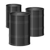 Barrel. Three black oil barrels in vector Stock Photography