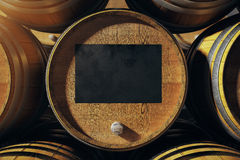 Barrel top with blackboard Royalty Free Stock Images