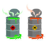 Barrel of toxic waste. Biohazard open container. Grey with red b Stock Photo