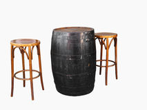 Barrel with Two Cane Stools Stock Photos
