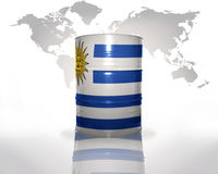 Barrel with uruguayan flag Stock Photography