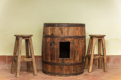 Barrel used as table Royalty Free Stock Photography