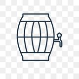 Barrel vector icon isolated on transparent background, linear Ba royalty free illustration