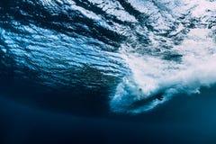 Barrel wave underwater with surfboard. Ocean in underwater. Barrel wave underwater with surfboard. Sea in underwater stock image