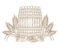 Barrel with wheat ears stock illustration