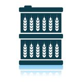 Barrel With Wheat Symbols Icon. Shadow Reflection Design. Vector Illustration royalty free illustration