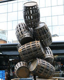 Barrel whiskey design. A metal sculpture in Belfast City Centre of whiskey barrels Stock Images