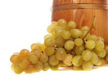 Barrel with white grapes Stock Photography