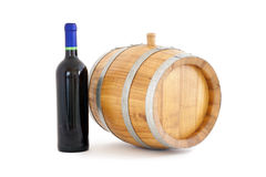 Barrel and wine. Barrel and bottle, white background isolated Royalty Free Stock Photos