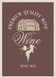 Barrel of wine. Banner with a barrel of wine and grapes Royalty Free Stock Photos