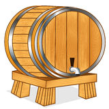The Barrel with wine or beer on tray Royalty Free Stock Images