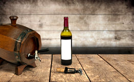 Barrel, Wine Bottle and Corksrew Royalty Free Stock Images