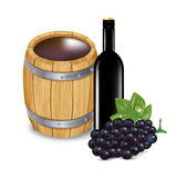 Barrel with wine bottle and grapes isolated Royalty Free Stock Image