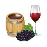 Barrel with wine glass and grapes isolated Stock Photography