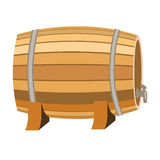 Barrel of wine icon in cartoon style isolated on white background. Wine production symbol stock vector illustration. Stock Photos