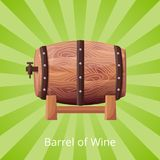 Barrel of Wine Icon Vector Illustration on Green. Barrel of wine, big icon of wooden cask with alcohol, white title at bottom of picture vector illustration on vector illustration