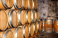 Barrel of wine in winery. royalty free stock images