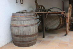 Barrel for wine. Village life. Barrel and cart Stock Photo