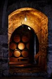 Barrel of wine in winery. royalty free stock image