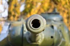 Barrel With A Tank Close-up. A Close Up Shot Of A Rusty Military Tank Gun, Tank Canon. The Barrel Of The Soviet Anti-tank Rifle. Stock Photos