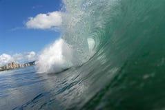 Barreling wave. A beautiful barreling wave in Hawaii stock photography