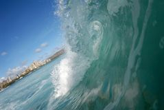 Barreling wave in Hawaii royalty free stock images