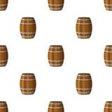 Barrels безшовная картина Плоский стиль Ром, виски, пиво, вино, иллюстрация вектора
