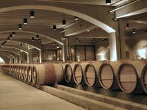 Barrels. In a famous Californian wine cellar stock photography