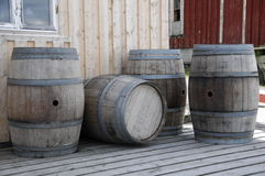 Barrels. Old barrels at the winery royalty free stock photography
