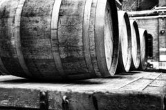 Barrels. At the Distillery District in Toronto royalty free stock image