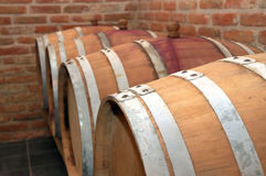 Barrels. Perspective of barrels in a cellar Royalty Free Stock Images